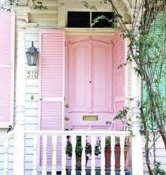 Pink doors and shutters.
