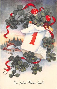 clover 1 january mushroom neujahr new year greetings germany in Collectables, Postcards, Greetings Happy New Year Baby, Happy New Year Cards, New Year Greetings, Merry Christmas And Happy New Year, Vintage Christmas Cards, Xmas Cards, Vintage Cards, Vintage Postcards, Holiday Cards