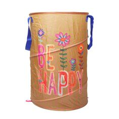 Be Happy Laundry Hamper:It;s all good. Happily store your laundry with this unique hamper. The painted design and bold colors make it a fun piece to have in your room.