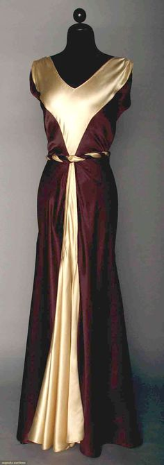 SATIN EVENING GOWN, 1930s, 2-tone silk charmeuse in ecru and chocolate, V-front and buckle at back waistline, self fabric belt.