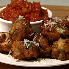 Anne Burrell's Zucchini & Parm Fritters With Spicy Tomato Sauce - the chew - ABC.com