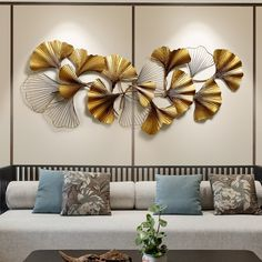 Online Shop New Chinese Wall Wrought Iron Ginkgo Biloba Crafts Creative Wall Hanging Sofa Background Mural Home Decoration Accessories Gold Wall Decor, Metal Wall Decor, Gold Walls, Metal Walls, Drawing Room Colour, Decorative Items, Decorative Accessories, Bedroom Drawing, Cheap Wall Stickers