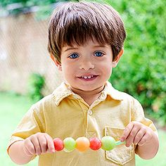 Melon Swizzlers - Kids will love these cantaloupe, honeydew, and watermelon balls on a straw -- and get a serving of fruit. Make them just before heading to the picnic because fruit tends to start losing vitamin C after it's cut.
