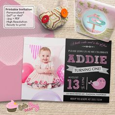 Cute Little Bird First Birthday Party invitations by CutePartyDash