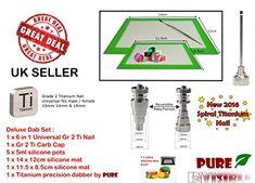 Half Price Sale On Rrp !!! Roilbee 11 Piece Dab Set 6 In 1 Titanium Nail Domeless Ti Nail 10mm /14mm/18mm Male & Female Grade 2 Ti Titanium Nail Carb Cap Dab Tool Silicone Jar Mat Set  1 Extra Item !!!