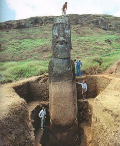 Lemuria comes alive    Rapa Nui    Full size Moai Statue uncovered  This statue has complex petroglyphs carved on their backs, faces, and arms.