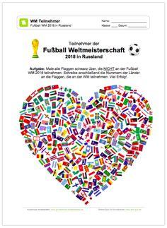 NEU: Ein kostenloses Arbeitsblatt zur Fußball WM 2018 in Russland, auf dem die Schüler die Flaggen der WM Teilnehmer erkennen sollen.