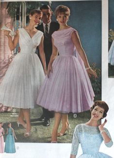 Evening Dresses, Bridesmaids, Mothers Gowns tulle swing dresses in white or lavender Vintage Outfits, 1960s Outfits, Vintage Dresses 1960s, Vestidos Vintage, Vintage Prom, Vintage Mode, 1950s Prom Dress, 1960 Dress, 1960s Fashion