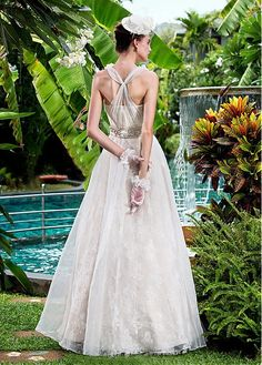 Sweet V-neck Sleeve Sleeveless Natural Full Length A-line Without Train Trend Luxury Style Wedding Dresses