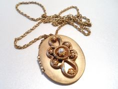 Vintage Victorian Style Pearl and Gold Tone by NowAndThenShop