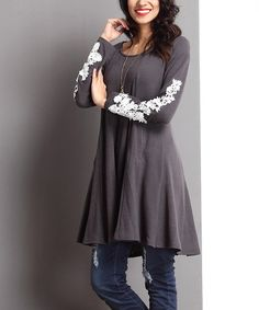 This Charcoal Lace Appliqué Tunic is perfect! #zulilyfinds