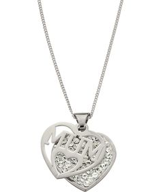 Buy Sterling Silver Crystal Heart 'Mum' Pendant at Argos.co.uk - Your Online Shop for Ladies' necklaces.