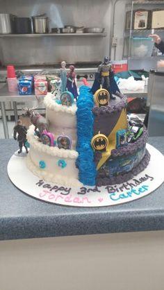 Batman and frozen birthday cake