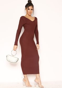 91cd06cef04 Jodi Chocolate Ribbed Knit Midi Dress
