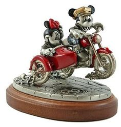 """Disney Chilmark Get Your Motor Runnin #DisneyChilmark #Art. First issue in the """"Two Wheeling"""" series featuring Mickey & Minnie on motorcycles. """"Get Your Motor Runnin'"""" features the famous Disney duo decked out in '50's style. Mickey pops a wheelie on his red motorcycle and Minnie enjoys his bravado from her side-car. Limited Edition of 950."""