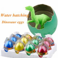 12pcs / box Dinosaur eggs White Water crack hatching growing dino egg children Novelty funny toys products gift