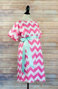 Maternity Hospital Delivery Gown in Hot Pink Chevron  by modmum, $64.00