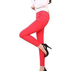 ecb7eda9ede XGBDTJ Pantalons pour Femmes Plaine Maigre Taille Haute Pantalon Crayon  Leggins Taille Mode de Vie Élastique