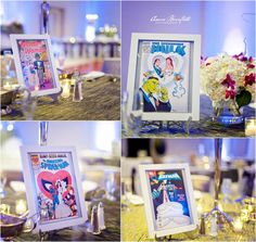 Comic book wedding covers instead of table numbers - Visit to grab an amazing super hero shirt now on sale!
