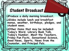 Project Based Learning Starting a School Newscast | TpT