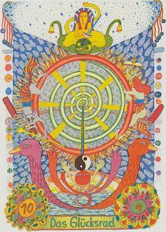 X. The Wheel of Fortune - GipsyTarot Tsigane / Zigeuner Tarot by Walter Wegmuller 1983
