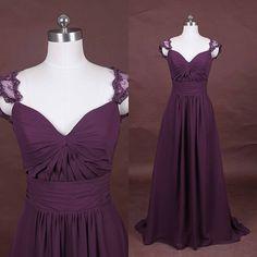 Purple bridesmaid dress, long chiffon prom bridesmaid dress, lace bridesmaid dress, 2015 bridesmaid dress