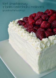 white chocolate and raspberry cake Raspberry Cake, No Bake Treats, Vegan Sweets, White Chocolate, Vanilla Cake, Cheesecake, Cooking, Cakes, Anna