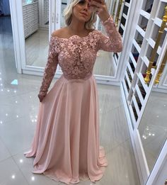 Lace Appliques Long Sleeve Evening Dress ,Chiffon Formal