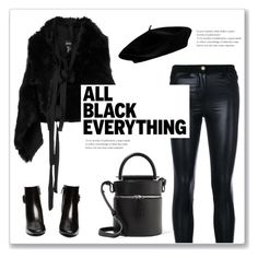 """Addicted to black"" by minorseventh ❤ liked on Polyvore featuring Versace, Ann Demeulemeester, Tod's, Building Block and allblackoutfit"