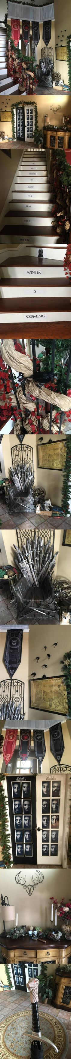 Look at Game of Thrones Fan House, He is the Biggest Fan! Game Of Thrones Halloween, Game Of Thrones Birthday, Game Of Thrones Party, Game Of Thrones Houses, Game Of Thrones Fans, Diy Games, Party Games, Halloween Decorations, Halloween Party