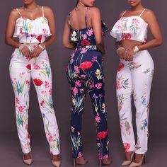 Ruffled Strappy Floral Print Cropped High Waist Pantsuit at Diyanu Hot Outfits, Casual Fall Outfits, Swag Outfits, Pretty Outfits, Summer Outfits, Casual Jumpsuit, Black Jumpsuit, Off Shoulder Outfits, Ankara Dress Styles
