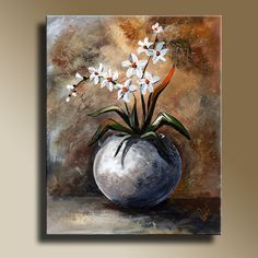 Canvas Print of Original acrylic painting Still Life with White Flowers Wall hanging Decorative Art