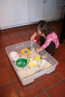 Oatmeal sensory tub