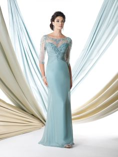 Chiffon A-line dress with hand-beaded illusion elbow-length sleeves, beaded illusion over sweetheart ruched bodice, beaded illusion back with keyhole, sweep train. NEW color for Spring 2014: MintSizes: 4 – 20, 16W – 26W