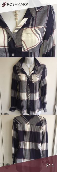 NWT flannel look top. Bust is 36 inches. Firm unless bundled. Thank you for understanding.  100% rayon. Firm unless bundled. Thank you for understanding.  Rue 21 Tops Button Down Shirts