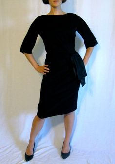 ***SALE*********Was $80.....now $54.99 *********  Classic dress by a classic designer!  Flattering and easy to wear.  Soft matte black (cashmere?)