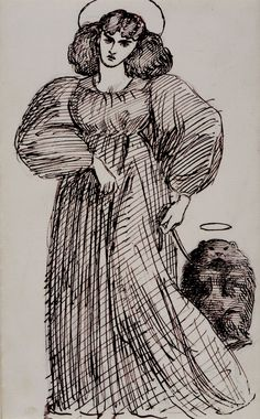 """Image of women and an exotic pet, 1869, Dante Gabriel Rossetti Medium: pen"""