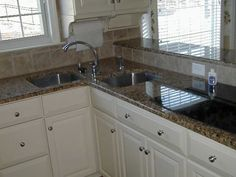 Kitchen Corner Kitchen Sink Cabinet Designs: A Couple Stainless Steel Corner  Kitchen Interior Sink Installed On Attractive Granite Countertop