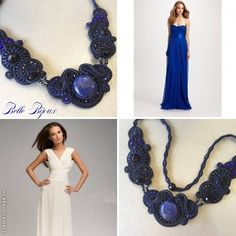 Soutache necklace with deep blue lapis lazuli by BELLEBIJOUDESIGN on Etsy