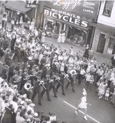A summer parade on King Street in Waterloo passes by McPhail's Bicycles, which is still in operation today. Waterloo Ontario, Kitchener Ontario, Gone Days, Local History, Twin Cities, Throwback Thursday, Bicycles, Cambridge, Kid