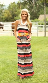 Pockets and Stripes Maxi Dress Coral - Modern Vintage Boutique