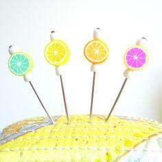 4 pcs Decorated Multi use Straight Pins, needles - Fruit Shish Kebab- For Pincushions, Coark Board and Wall Decorations. $3.00, via Etsy.