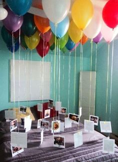 Depending on how old someone is, have that many balloons. Then have a picture attached to each balloon of every birthday they had.
