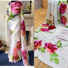Tussar Silk Saree, Organza Saree, Soft Silk Sarees, Hand Painted Dress, Hand Painted Fabric, Yellow Saree, Green Saree, Indian Fashion Dresses, Indian Outfits