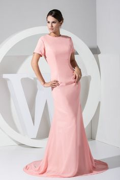 Amazing Short Sleeves Pink Prom Dress
