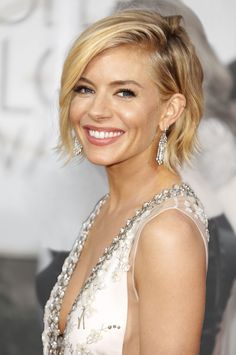"The swingy bob ""Bump up natural waves with a texturizing spray,"" suggests Jenny Cho, who styled Sienna Miller's hair for the Golden Globes."