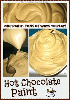 Hot chocolate paint recipe - so fun for the Winter! To make hot chocolate paint you will need: Shaving cream, One hot chocolate packet, cocoa powder, or chocolate extract. Preschool Lessons, Preschool Classroom, Preschool Ideas, Classroom Ideas, Daycare Ideas, Senses Preschool, Toddler Classroom, Preschool Projects, Autism Classroom