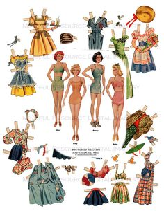 Girlfriends Paper Dolls 1940s Vintage Paper Dolls Nostalgia WWII Era Fashion Printable Download Bombshell Ephemera Collage Craft by mindfulresource