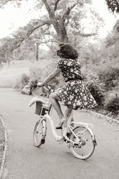A floral dress and pumps on a summer bike ride.