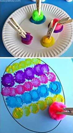 31 Easy and Fun Easter Crafts Sure to Amaze Your Kids Easter Craft for Kids using Pom Poms, Clothespins, and Paint.Easter Craft for Kids using Pom Poms, Clothespins, and Paint. Easter Crafts For Toddlers, Spring Crafts For Kids, Bunny Crafts, Easter Crafts For Kids, Preschool Crafts, Craft Kids, Unicorn Crafts, Kids Diy, Summer Crafts